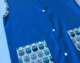 Peacock blue school or activity apron and pockets pattern owls