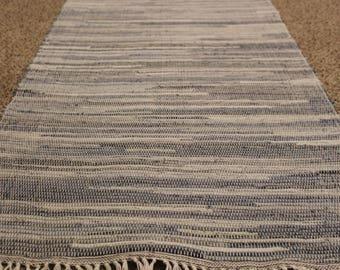 "Handwoven Light Denim rag rug 25"" x 115"""