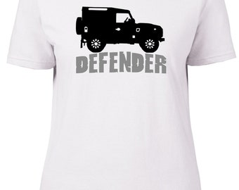 Landrover 90 Defender Profile Text. Car. Ladies semi-fitted t-shirt.