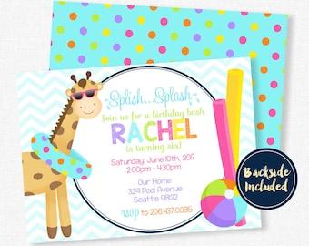 Splash Party Invitation, Pool Party Invitation, Giraffe Birthday Invitation, Water Party Invitation, Birthday Bash