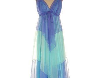 Vintage Aqua Blue Nylon Chiffon 2PC Nightgown Blanche Ralph Montenero Long Sweeping Hemline M