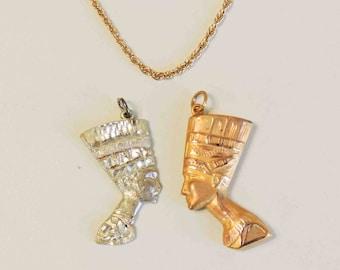 Vintage Egyptian Pharoah Pendant Necklace