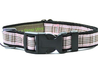 Pink Tartan dog collar sizes S - XXL