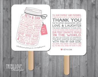 Personalized Mason Jar Wedding Ceremony Program Fan - Digital File
