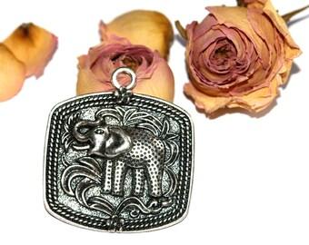 Large 47 X 52 mm Tibetan silver elephant pendant