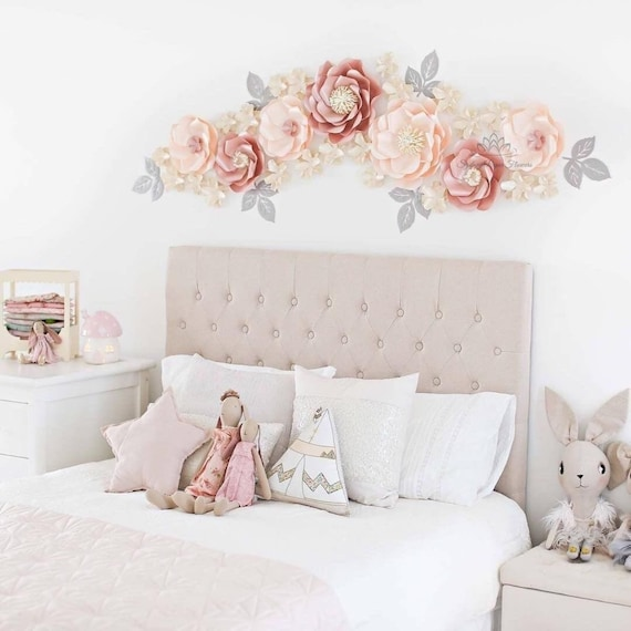 Paper flower backdrop wild rose paper flower wall wedding for Bed room decoration by paper