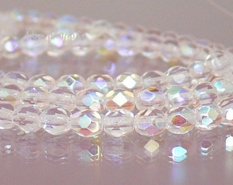 Crystal AB, Czech Beads Fire Polished 4mm 50 Faceted Round GLass