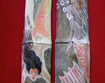 2 Beautiful Dark Hair Caribbean Mermaids-Orange- Fantasy Mermaid Original art on Drift wood