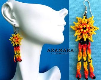 Huichol Earrings, Beaded Flower, Mexican earrings, Mexican Jewelry, Native american earrings, Flower Earrings, Mexican folk art, AF-0484