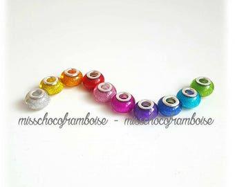 Set of 10 acrylic European beads glitter