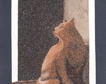 Natural sand painting 24x18 cm Red cat