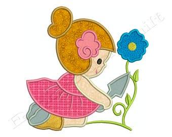 MY GARDEN GIRL 1 - Machine Applique Embroidery - Instant Digital Download