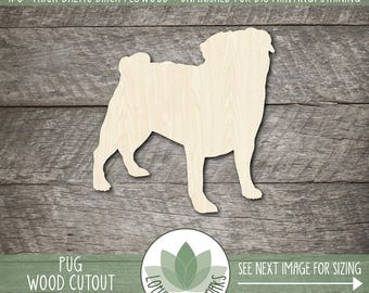 Pug Wood Shape, Unfinished Wood Pug Dog Laser Cut Shape, DIY Craft Supply, Variety Of Size Options