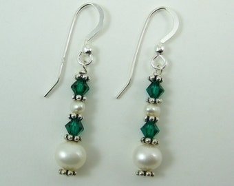 Emerald Swarovski and Pearl Earrings (E79)