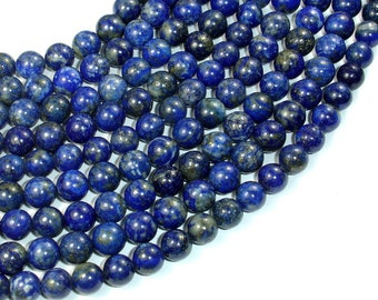 Natural Lapis Lazuli, 8mm (8.5mm) Round Beads, 15.5 Inch, Full strand, Approx 46-48 beads, Hole 1 mm (298054013)