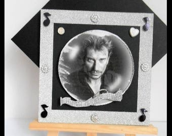 Johnny Hallyday, black and silver card