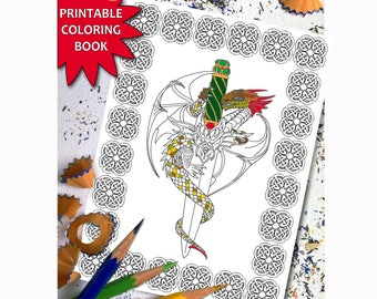 Dragon Magic  ADULT COLORING BOOK, Printable Adult Coloring Book Page,Digital Illustration, LineArt Instant Download Printable