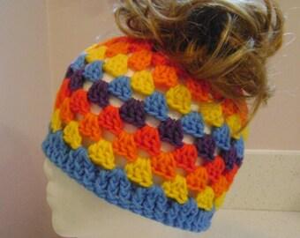 Rainbow Granny Messy Bun Hat, Messy Bun Beanie, Ponytail Hat, Ponytail Beanie, Top Knot Beanie, lovely gift for her, women, teen, children