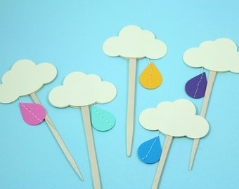 Rainbow Rain Cloud Cupcake Toppers - Set of 12 - Baby shower, Bridal Shower