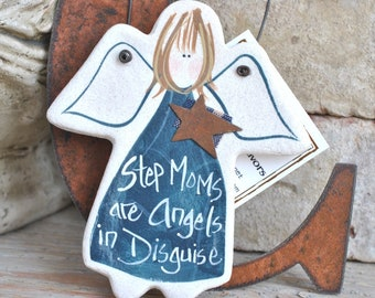Step Mother Mother's Day Gift Salt Dough Angel Ornament Birthday Gift for Her Step Mom Gift