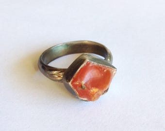 Raw Carnelian Ring - Size 8 - Orange Stone Ring - Rough Stone Jewelry