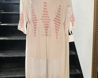 1920s Embroidered Cotton Peasant Boho Dress