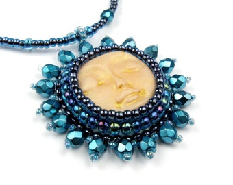 RESERVED For Fiona Sleeping Goddess Pendant, Teal Blue Gold, Necklace: Gwendolyn