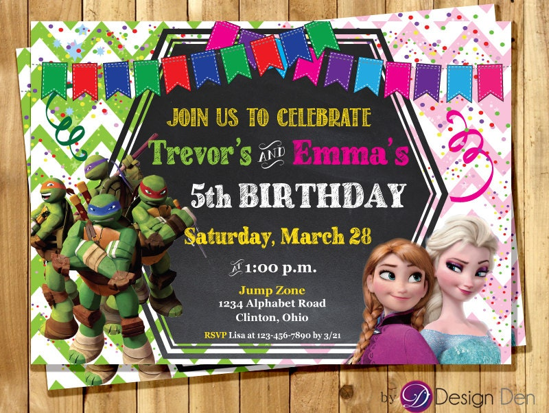 Frozen and Ninja Turtles JOINT Birthday party Invitations.