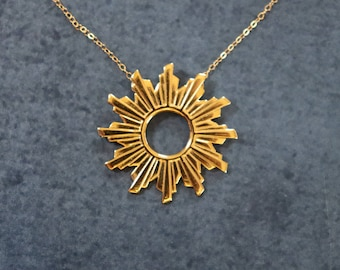 Sun Flare Necklace - Gold - 3D Printed
