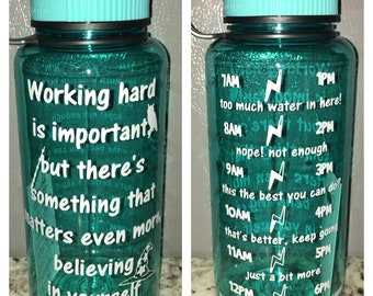 Harry Potter Working hard is important water bottle - work out motivational intake tracker mischief managed