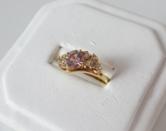 Vintage Delicate Faceted Pale Pink and Clear Rhinestone Ring on a Gold Tone Setting - Size 7 - Purple Ring - Gift for Her
