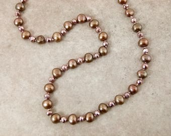 Bronze-Brown Hand Knotted Freshwater Pearls and Rose-Gold Pyrite Beads Choker - Item 1627