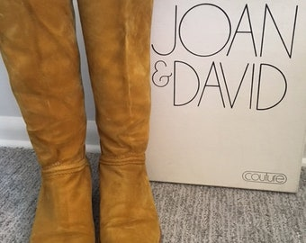Vintage Joan and David Couture mustard, suede boots - size 6 1/2