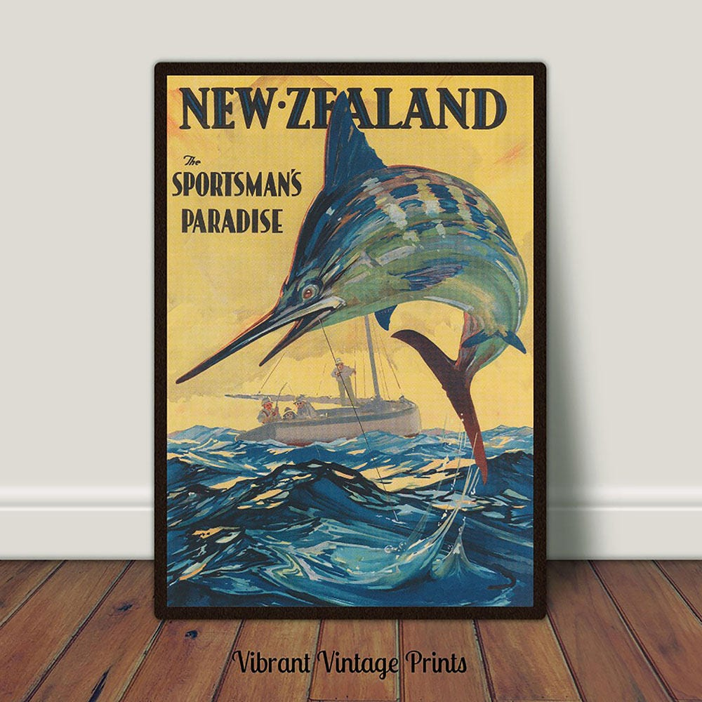 New Zealand Print Vintage Travel Print Marlin Fishing