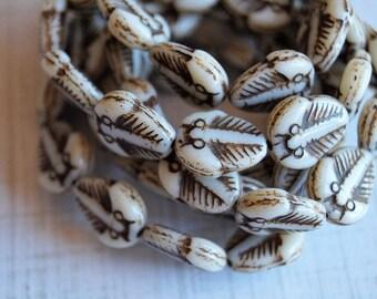 Czech Glass Trilobite Beads - Picasso Beads - Czech Glass Fossil Beads - Ivory Picasso Beads - Bead Soup Beads