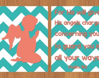 Angel Prayer Nursery Wall Art Coral Teal Chevron Nursery Child's Room Decor Angel Praying Kids Prayer Set of 2 8x10 Print (205)