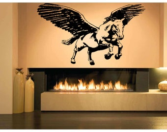 Wall Art Vinyl Sticker Tribal Unicorn Horse Pegasus Mythical Creature Magical Pony Poster ZX184