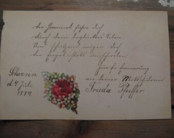 A German rhyme from an antique autograph book with poetry ... picture ... 1889!