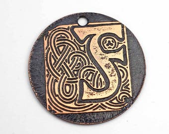 Celtic letter F pendant, round flat etched copper focal point, 28mm