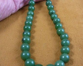 16 inch long light Green Jade round Beads bead beaded Necklace jewelry V308-12-16