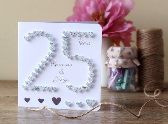 Handmade 3d silver wedding anniversary card 25th anniversary
