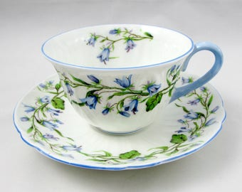 """Shelley """"Harebell"""" Tea Cup and Saucer, Blue Trimming, Vintage Bone China"""