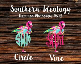 Monogram Decal, Car Monogram, Flamingo Monogram Car Decal in Beautiful Lilly Inspired Patterns and Beautiful Vibrant Patterns