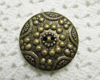 """Vintage Star and Dot: Large 1-1/8"""" (28mm) Two-Part Metal Button"""