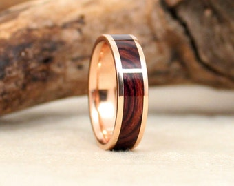Rose Gold Kingwood Rosewood and Wood Ring