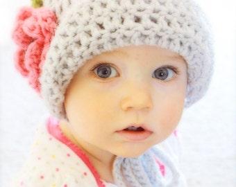 Crochet Baby Bonnet Hat  - Flapper Hat with Flower  - You Choose Color