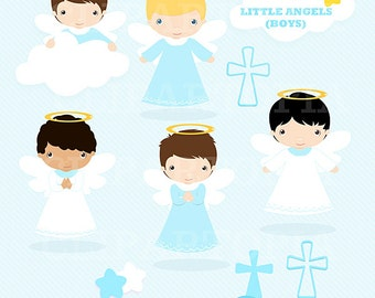 Little angels Boys digital Clipart / Cute Angels Clip Art / Angels Graphics For Personal and Commercial use / instant download