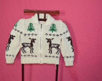 Childrens Deer Trees Cowichan Shawl Collar Zipper Front  Sweater Jacket  Kid's Cardigan Hand Knit Cardigan Sweater