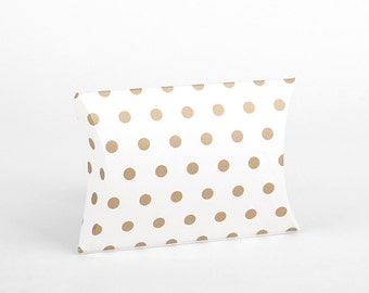 S 4 sets Gold dots gift boxes Pillow boxes packaging box(6x4.5x1in) -Set of 4 -Wedding boxes for favors- packaging- gift box-favors-weddings