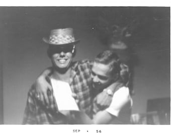 "Vintage Snapshot ""Goofing Around"" Cute Guys Big Smile Cool Hat Mid-Century Black & White Found Vernacular Photograph"